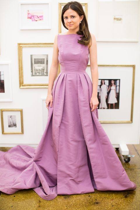 <p>Although it was a little difficult to translate the colored dresses I tried on into wedding white, I focused on the fit and detail, like the pleats and really cool slits. </p>