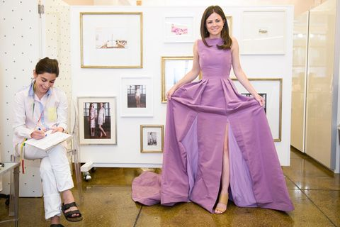 <p>We loved the skirt of this purple gown, and agreed that my dress should mimic it. From there, we would rework the top, because I felt a lower neckline would be more flattering on me. </p>