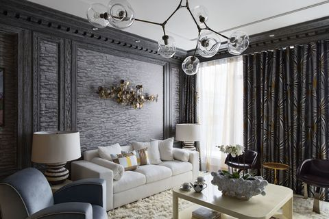 Room, Interior design, Furniture, Table, Living room, Wall, White, Ceiling, Couch, Light fixture,