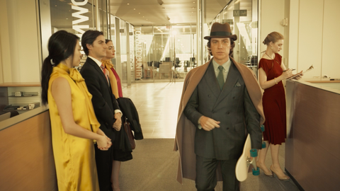 Trousers, Coat, Suit trousers, Outerwear, Hat, Suit, Formal wear, Blazer, Dress, Sun hat,