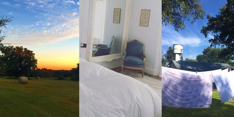 Bed, Linens, Sunset, Sunlight, Tints and shades, Door, Majorelle blue, Bedding, Sunrise, Shade,