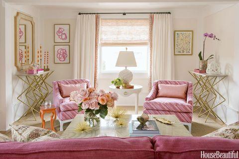 Room, Interior design, Textile, Pink, Home, Interior design, Linens, Peach, Purple, Lavender,