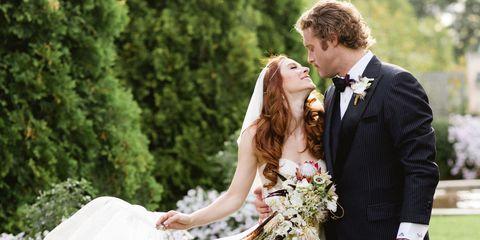 Clothing, Dress, Coat, Trousers, Bridal clothing, Petal, Photograph, Outerwear, Suit, Bride,