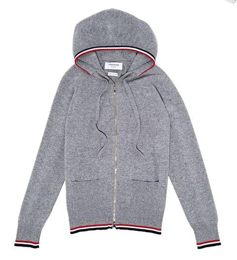 "<p>$1,890, <a href=""http://www.mrporter.com/en-us/mens/thom_browne/striped-loopback-cotton-jersey-hoodie/566619?cm_mmc=GoogleNYCPLAc-_-NYC%20-%20GS%20-%20Clothing-_-Clothing%20-%20Sweats-_--mt%3A-sn%3Ag&mkwid=szHZUFfzo%7C44525110290%7C%7C%7Cc&gclid=Cj0KEQiAyIayBRDo4vjdqJrgxZ0BEiQAhOYCYBO84StEDV7o4FSE6czopAT3HVx9gkQOHKs6nsPcfAYaAhp78P8HAQ"">Thom Browne</a>.</p>"