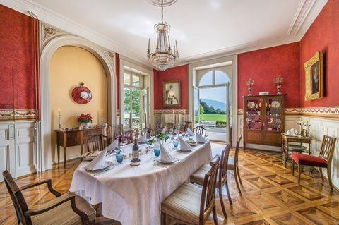 Tablecloth, Room, Interior design, Furniture, Table, Light fixture, Ceiling, Dining room, Chandelier, Interior design,
