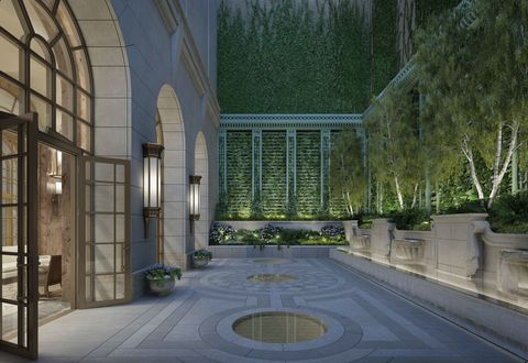 Architecture, Fixture, Garden, Courtyard, Arch, Symmetry, Daylighting, Tile, Water feature, Yard,