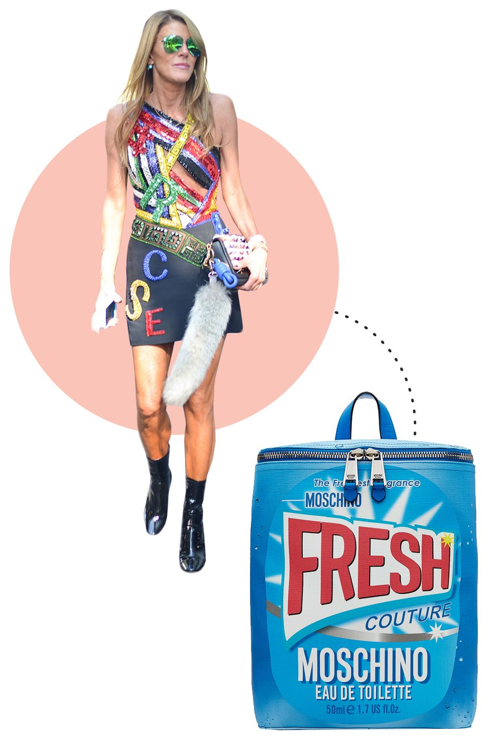 """<p>Never one to shy away from a trends, Italian style stars wear their favorite brands loud and proud. Opt for a smaller accessories, like a logo mini bag or a belt, if you're a bit more shy.</p><p>Moschino Printed Backpack, $795; <a href=""""http://rstyle.me/n/beiz3vbc6jf"""">stylebop.com</a></p>"""