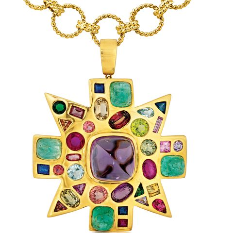 Yellow, Green, Amber, Fashion accessory, Symbol, Pendant, Teal, Body jewelry, Cross, Material property,