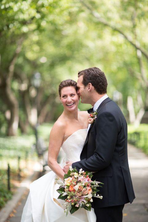 Clothing, Coat, Dress, Trousers, Bridal clothing, Petal, Bouquet, Photograph, Suit, Outerwear,