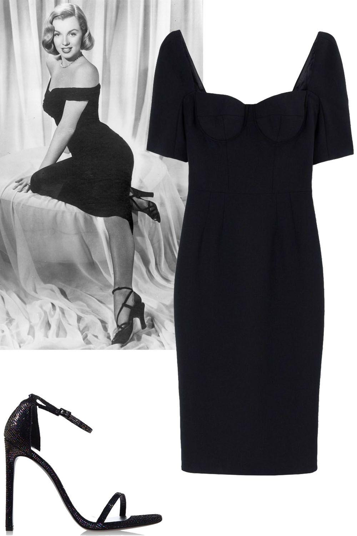"<p>Hiphugging dress, midi length + strappy black heels</p><p><strong>Dolce & Gabbana</strong> dress, $2,945, <a href=""https://shop.harpersbazaar.com/designers/d/dolce-and-gabbana/black-crepe-fitted-dress-5097.html"">shopBAZAAR.com</a>; <strong>Stuart Weitzman</strong> heel, $415, <a href=""https://shop.harpersbazaar.com/designers/s/stuart-weitzman/nudist-textured-sandal-6172.html"">shopBAZAAR.com</a>.</p>"