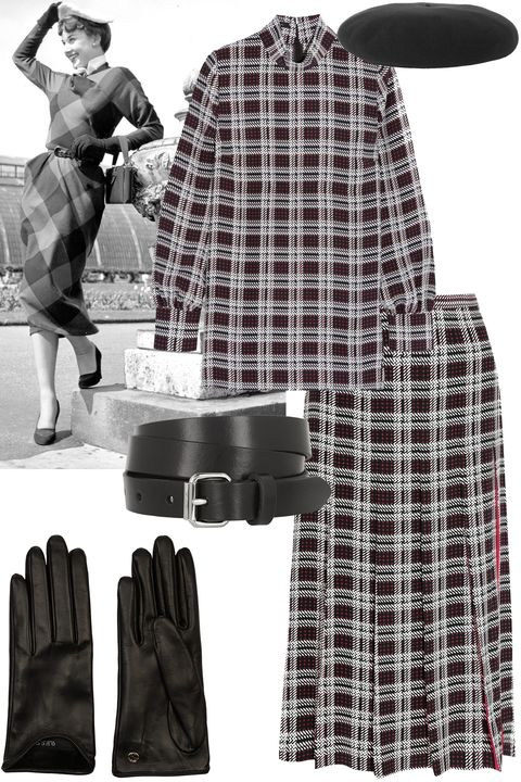 """<p>Plaid set + belt + beret + gloves</p><p><strong>Mother of Pearl</strong> top, $495, <a href=""""http://www.net-a-porter.com/us/en/product/583078/Mother_of_Pearl/allen-printed-silk-top"""">net-a-porter.com</a>; <strong>Mother of Pearl </strong>skirt, $695, <a href=""""http://www.net-a-porter.com/us/en/product/583079/Mother_of_Pearl/dune-printed-silk-skirt"""">net-a-porter.com</a>; <strong>Isabel Marant</strong> belt, $115, <a href=""""http://www.net-a-porter.com/us/en/product/586359/Etoile_Isabel_Marant/romny-leather-belt"""">net-a-porter.com</a>; <strong>Saint Laurent</strong> beret, $590, <a href=""""http://www.net-a-porter.com/us/en/product/590734/Saint_Laurent/wool-felt-beret"""" target=""""_blank"""">net-a-porter.com</a>; <strong>Gucci</strong> gloves, $425, <a href=""""http://www.net-a-porter.com/us/en/product/504059/Gucci/leather-gloves"""">net-a-porter.com</a>.</p>"""