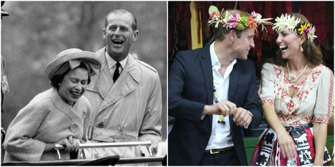 Queen Elizabeth and Prince Philp laughing, Prince William and Kate Middleton laughing