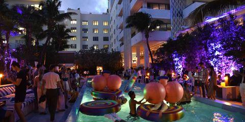 Fun, Tree, Leisure, Purple, Magenta, Majorelle blue, Arecales, Water feature, Palm tree, Condominium,