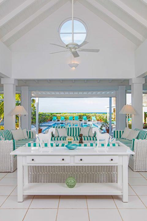Green, Interior design, Room, Ceiling, Floor, Interior design, Turquoise, Teal, Light fixture, Real estate,