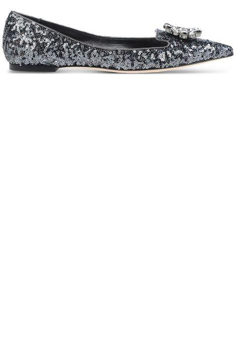 "<p><strong>Dolce & Gabbana</strong> flat, $795, <a href=""https://shop.harpersbazaar.com/designers/d/dolce-and-gabbana/gray-sequined-pointed-toe-flats-4916.html"" target=""_blank""><strong>shopBAZAAR.com</strong></a>.</p>"