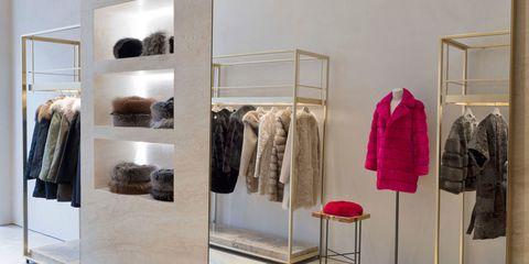 Fashion, Natural material, Clothes hanger, Jacket, Collection, Shelving, Shelf, Fashion design,