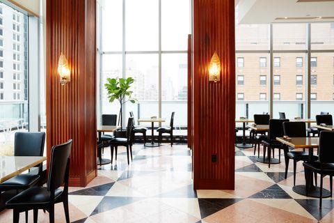 Lighting, Interior design, Room, Floor, Flooring, Table, Furniture, Glass, Interior design, Ceiling,