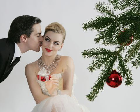 Clothing, Event, Jewellery, Dress, Red, Bride, Bridal clothing, Photograph, Christmas decoration, Happy,