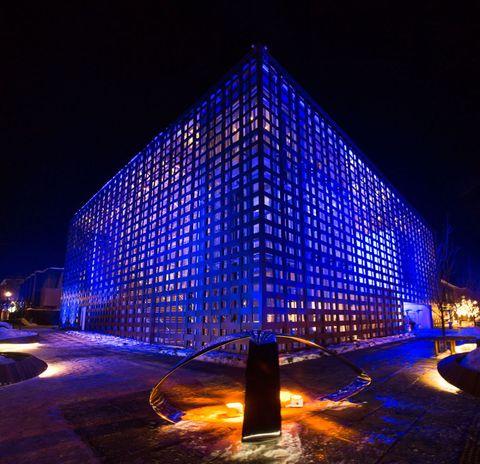 Blue, Night, Facade, Majorelle blue, Landmark, Light, Electric blue, Electricity, Midnight, Cobalt blue,