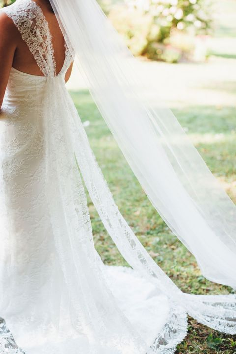 Clothing, Dress, Bridal clothing, Shoulder, Photograph, Joint, Bridal accessory, White, Veil, Gown,