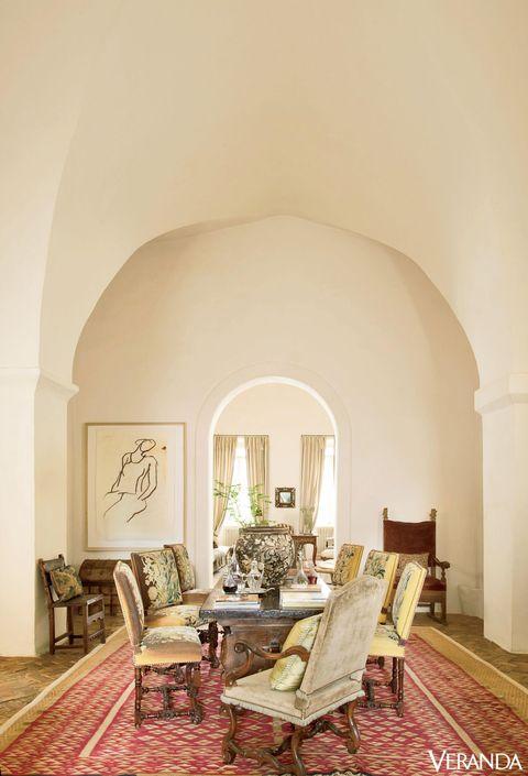Floor, Interior design, Room, Flooring, Furniture, Ceiling, Chair, Home, Arch, Beige,
