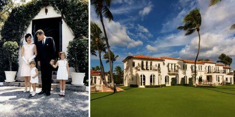 Dress, Photograph, Tree, Arecales, Real estate, Suit, Lawn, Ceremony, Palm tree, Sunglasses,