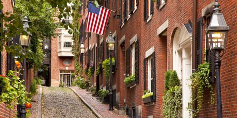 Flag, Property, Neighbourhood, Brick, Flag of the united states, Building, Town, Real estate, House, Brickwork,