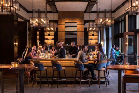 Lighting, Furniture, Table, Restaurant, Chair, Light fixture, Interior design, Customer, Business, Café,