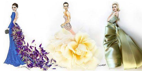 Petal, Dress, Fashion, Art, Fashion illustration, Costume design, One-piece garment, Day dress, Flowering plant, Fashion design,