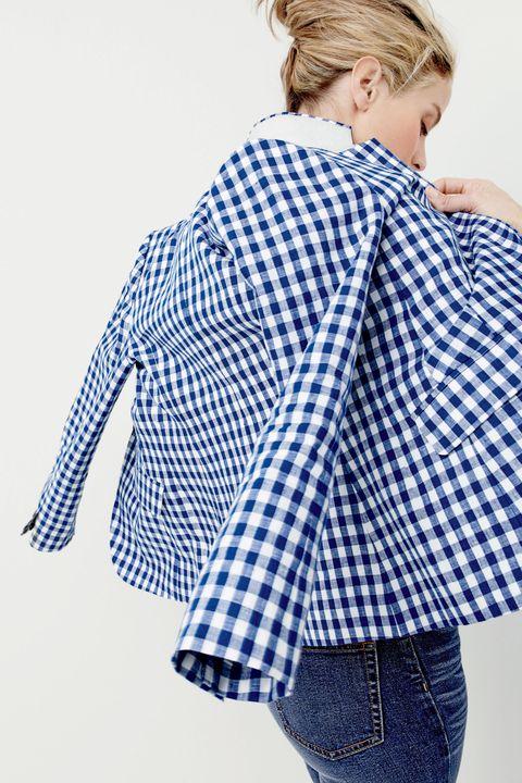 Clothing, Blue, Plaid, Dress shirt, Collar, Sleeve, Denim, Shoulder, Pattern, Textile,