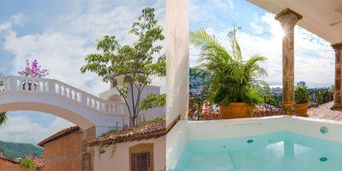 Property, Real estate, Azure, Aqua, Arecales, Majorelle blue, Resort, Paint, Arch, Palm tree,