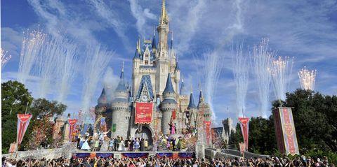 Walt disney world, Crowd, Landmark, Spire, World, Amusement park, Castle, Tourist attraction, Festival, Turret,