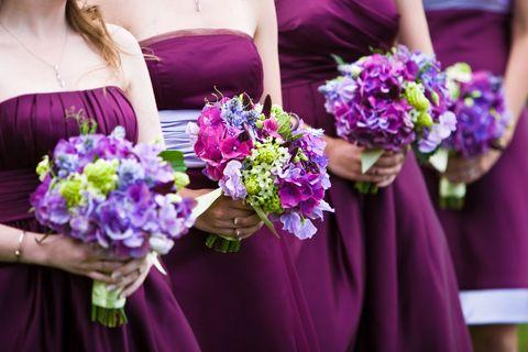 Blue, Yellow, Bouquet, Purple, Flower, Petal, Strapless dress, Violet, Cut flowers, Lavender,