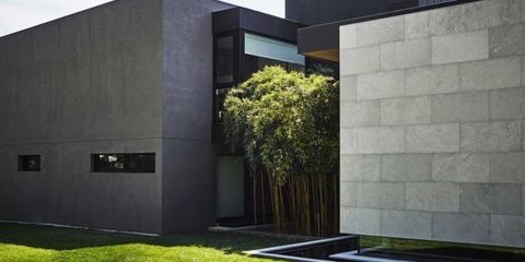Grass, Property, Architecture, Wall, Concrete, Rectangle, Composite material, Design, Shade, Lawn,