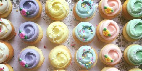 Sweetness, Food, Cupcake, Dessert, Baked goods, Pink, Purple, Colorfulness, Cuisine, Ingredient,