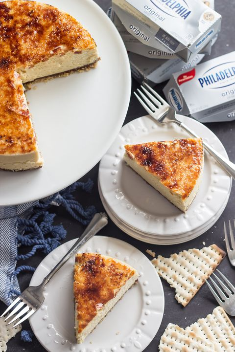"<p><a href=""http://bakingamoment.com/toffee-crunch-cheesecake/ "" target=""_blank"">Toffee Crunch Cheesecake</a> </p><p>By Allie of <a href=""http://bakingamoment.com/"" target=""_blank"">Baking a Moment</a> </p><p><strong>Ingredients:<br> 	</strong> </p><p><em>For the Crust:</em> </p><ul> <li>2 sheets matzoh</li> <li>1/4 cup brown sugar</li> <li>1/4 teaspoon kosher salt</li> <li>4 tablespoons unsalted butter, melted</li> <li>1 ounce milk chocolate, chopped</li> <li>1 ounce semisweet chocolate, chopped</li> <li>1/4 cup heavy cream</li> </ul><p><em>For the Filling:</em> </p><ul> <li>24 ounces (3 packages) Philadelphia Cream Cheese (brick)</li> <li>1 cup brown sugar</li> <li>3 tablespoons cornstarch or potato starch</li> <li>4 large eggs</li> <li>1 egg yolk</li> <li>1/4 cup heavy cream</li> <li>2 teaspoons vanilla extract</li> <li>a pinch of kosher salt</li> <li>approx. 1/4 cup granulated sugar, for brulée</li> </ul><p><strong>Directions:<br> 	</strong> </p><p><em>Make the Crust:</em> </p><p>Mist an 8-inch x 3-inch (straight-sided) round pan with non-stick spray, and line with a circle cut from parchment paper. </p><p>Break up the matzoh and place in the bowl of a food processor, along with the brown sugar and salt. Process to a fine crumb. Stir in the melted butter and press the mixture into the bottom of the prepared pan. </p><p>Heat the cream until steaming. Stir in the chopped chocolate until smooth. Pour the ganache over the crust, and set aside. </p><p><em>Make the Filling:</em> </p><p>Preheat the oven to 400 degrees F. </p><p>Place the cream cheese, brown sugar, corn or potato starch, and salt in a large mixing bowl, and beat on medium speed until smooth. Add the eggs, one at a time, scraping the bottom and sides of the bowl with a silicone spatula after each addition. Pour in the cream, vanilla, and salt and stir on low speed until combined. </p><p>Pour the batter into the prepared pan. Place the cheesecake in a larger baking dish, and pour very hot water into the larger dish, about 1-inch up the sides of the pan. Bake for 20 minutes, then turn the heat down to 300 degrees F and bake for an additional 80 minutes or until the cheesecake is set around the sides but still slightly jiggly towards the center. Turn the oven off, prop the door open with a wooden spoon, and allow the cheesecake to cool in the oven for at least an hour. </p><p>Chill the cheesecake overnight in the fridge. Run a thin knife around the edge of the pan, and wrap it in a hot towel to loosen it. Flip the cheesecake onto a plate, and then invert it onto a serving platter. Sprinkle with granulated sugar, and brulée with a kitchen torch, or put it under the broiler for a few minutes.</p>"