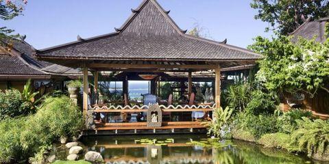 Body of water, Plant, Pond, Gazebo, Waterway, Roof, Botany, Garden, Reflection, Shade,