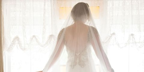 Brown, Hairstyle, Shoulder, Dress, Bridal veil, Long hair, Wedding dress, Bridal accessory, Bridal clothing, Veil,