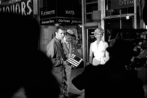 With Tom Ewell on the set of The Seven Year Itch in 1954