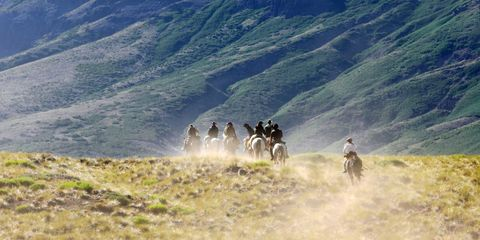 Human, Adventure, Fell, Trail riding, Working animal, Pack animal, Steppe, Chaparral, Ranch, Dust,