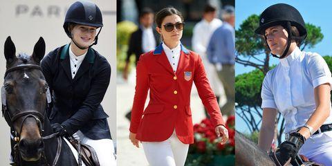 Eyewear, Helmet, Sleeve, Personal protective equipment, Outerwear, Coat, Collar, Sunglasses, Blazer, Horse supplies,