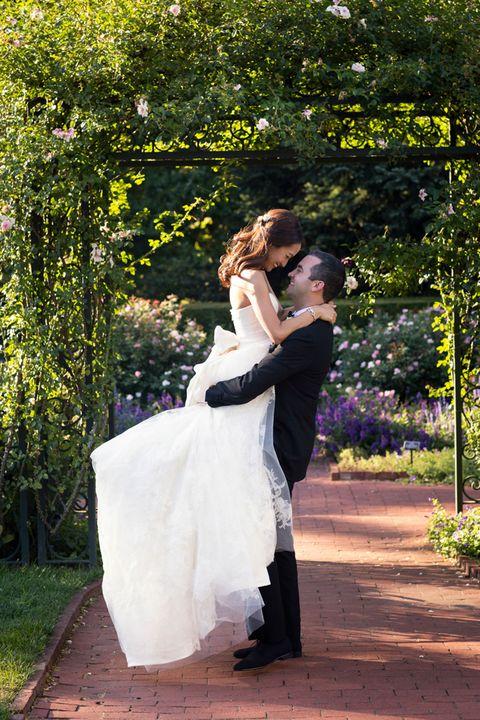 Clothing, Dress, Trousers, Coat, Bridal clothing, Photograph, Suit, Outerwear, Bride, Petal,