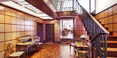 Wood, Lighting, Interior design, Hardwood, Floor, Room, Stairs, Ceiling, Wood stain, Flooring,