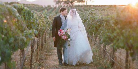 Clothing, Bridal clothing, Petal, Dress, Trousers, Coat, Bride, Photograph, Bridal veil, Suit,