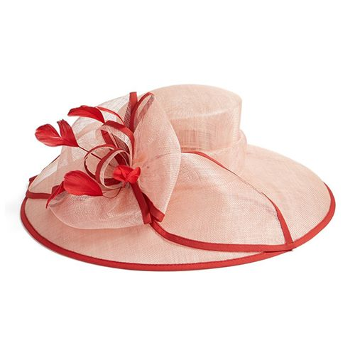 nordstrom feathered sinamay hat in red and pink