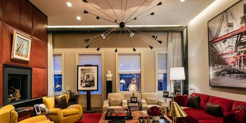 Interior design, Lighting, Room, Living room, Ceiling fixture, Floor, Ceiling, Couch, Furniture, Interior design,