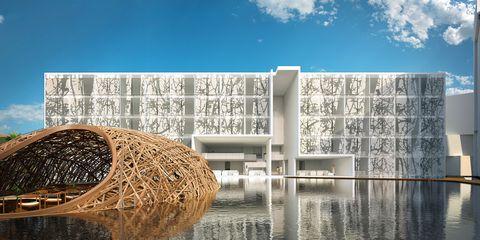 Reflection, Rectangle, Straw, Symmetry, Concrete, Environmental art, Hay,