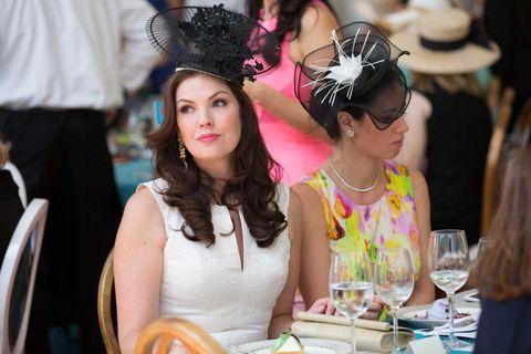 Hair accessory, Headpiece, Drinkware, Glass, Stemware, Fashion accessory, Drink, Serveware, Headgear, Hat,