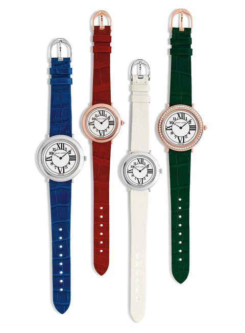 Product, Watch, Red, White, Analog watch, Watch accessory, Wrist, Font, Fashion, Metal,