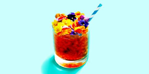 Liquid, Colorfulness, Gelatin dessert, Cut flowers, Artificial flower, Highball glass, Home accessories, Cocktail,